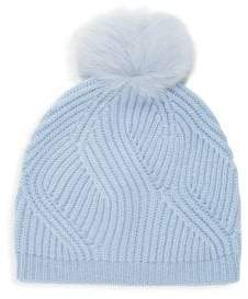 Saks Fifth Avenue Fox Fur Pom-Pom Cashmere Ribbed Beanie