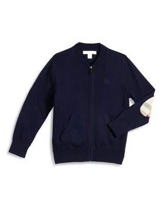 Burberry Jaxson Zip-Front Cotton Cardigan, Navy, Size 4-14