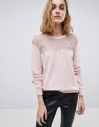 HUGO Signature Sweater with Lace Panel