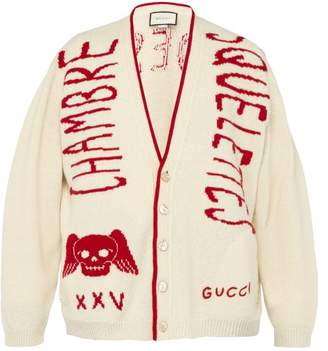 Gucci Chambre Skull Wool Varsity Cardigan - Mens - Red White