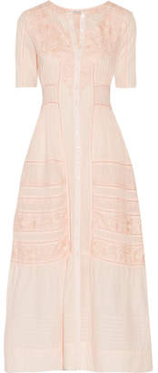 LoveShackFancy - Della Pointelle-trimmed Embroidered Cotton Maxi Dress - Pastel pink $395 thestylecure.com