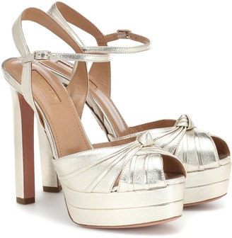 Aquazzura Evita 130 leather plateau sandals