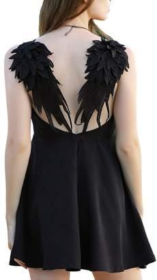 Come On Comeon Women\'s V-neck Angel Wings Open Back Slip Dress Skater Mini Dress