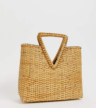Ellen & James ziggy handmade woven straw basket bag