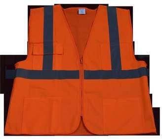 Petra Roc OV2-FSMB-2X-3X Safety Vest Ansi Class 2 Front Solid Mesh Back, Orange - 2X & 3X