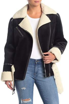 Blank NYC BLANKNYC Denim Faux Shearling Lined Velvet Jacket