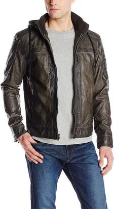X-Ray Men's Slim Fit Moto Jacket with Removable Hood