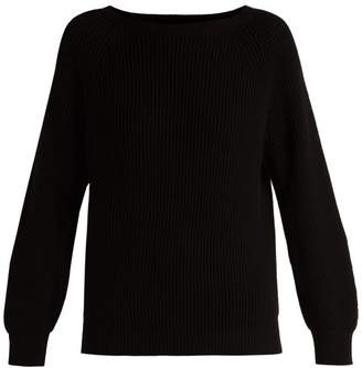 Max Mara Boat Neck Cotton And Wool Blend Sweater - Womens - Black