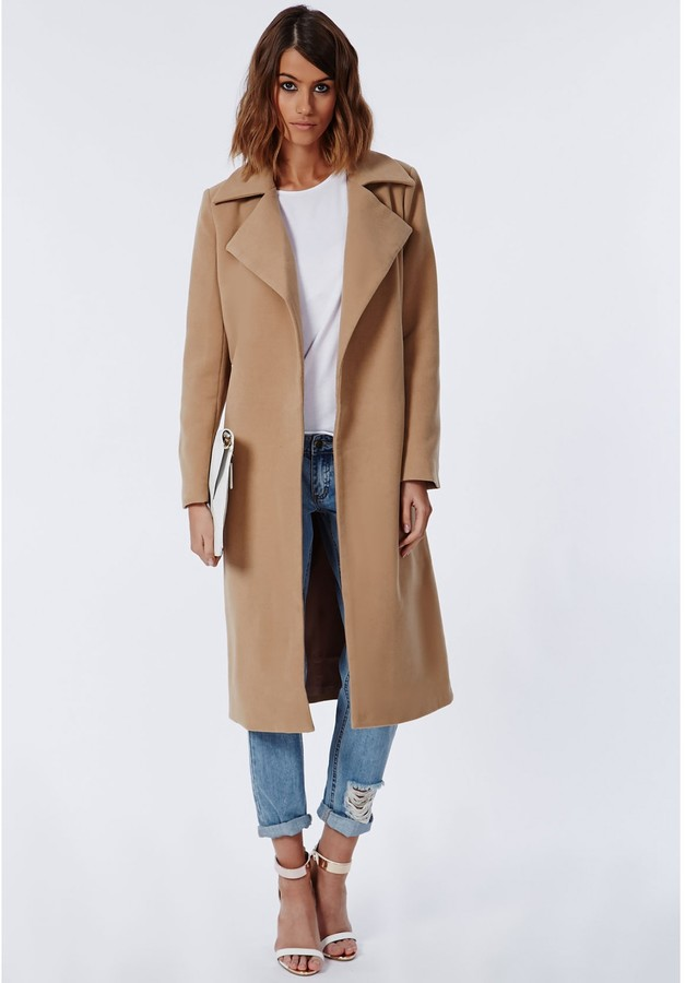 Khloe Oversized Premium Waterfall Coat Camel 5