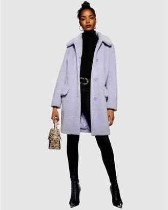 Topshop Wendy Faux Fur Button Detail Coat