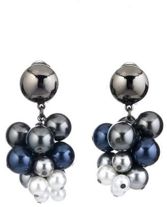 Oscar de la Renta Imitation Pearl Vine Cluster Clip On Earrings