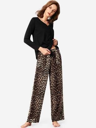 deb5b96c19 Shein Solid Top & Leopard Print Pants PJ Set