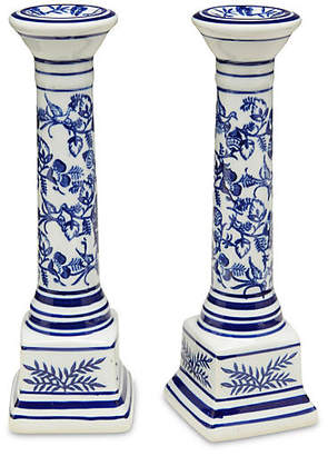 One Kings Lane Set of 2 Floral Candlestick - Blue/White
