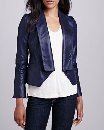 Neiman Marcus Cusp by Single-Lapel Leather Jacket