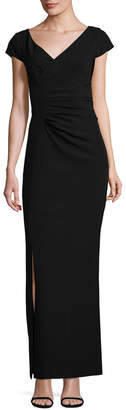 JS Collections V-Neck Crepe Gown