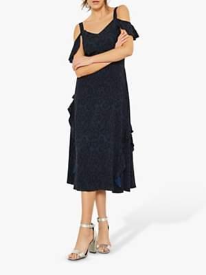 Mint Velvet Molly Print Ruffle Dress, Navy/Multi