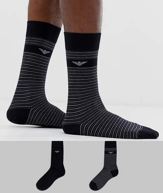 09987ed2b Emporio Armani 2 pack stripe logo socks in black