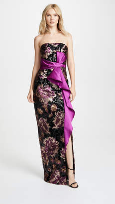 Marchesa Strapless Sequin Peony Gown