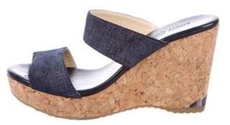 Jimmy Choo Denim Wedge Sandals