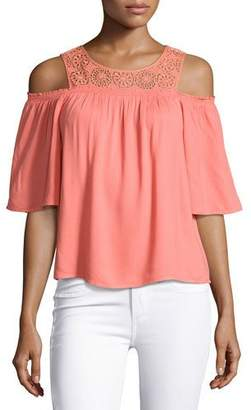 Ella Moss Medallion Crochet Cold-Shoulder Top, Coral $148 thestylecure.com