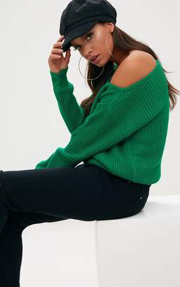 PrettyLittleThing Emerald Green Off Shoulder Knitted Crop Jumper