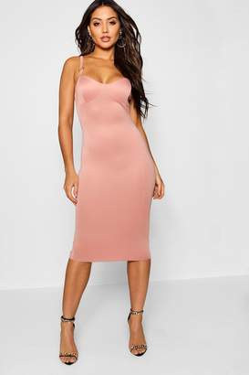 boohoo O Ring Detail Midi Dress