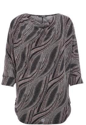 Quiz Silver Glitter Cowl Neck Batwing Top