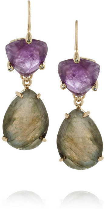 Isharya Libra gold-plated, amethyst and labradorite earrings