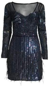 Alice + Olivia Parker Black Bailey Embellished Mesh Dress