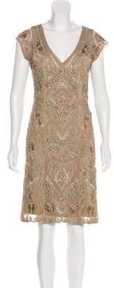 Sue Wong Embellished Knee-Length Dress