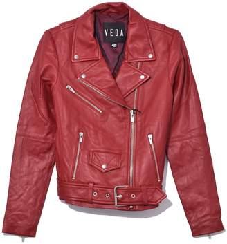 Veda Jayne Smooth Leather Jacket in Crimson