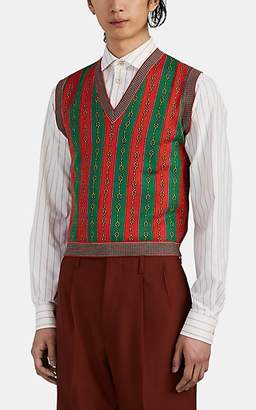 Gucci Men's Chain-Link & Web Striped Cotton-Blend Sweater Vest - Red