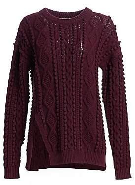 3.1 Phillip Lim Women's Popcorn Cable-Knit Split Wool Sweater