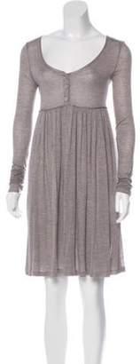 Stella McCartney Long Sleeve Knee-Length Dress Grey Long Sleeve Knee-Length Dress