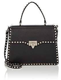 Valentino Women's Rockstud Leather Single-Handle Satchel - Black