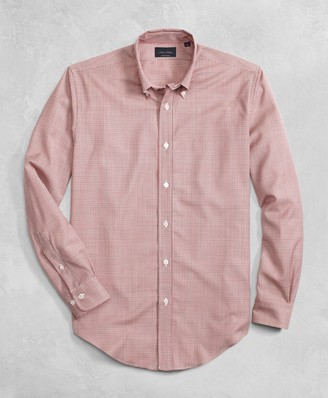 Brooks Brothers Golden Fleece BrooksTech Lightweight Wool Mini Check Sport Shirt