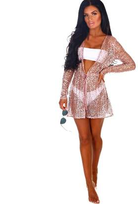 6ba95d0a096 Pink Boutique Walk Of Fame Rose Gold Sequin Long Sleeve Cover Up
