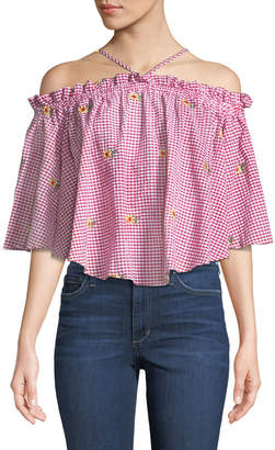 Romeo & Juliet Couture Halter-Neck Off-the-Shoulder Daisy-Embroidered Gingham Blouse