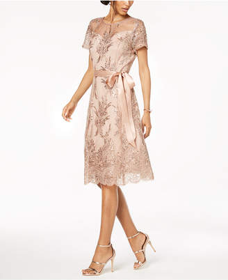 R & M Richards Sequin-Embellished Lace A-Line Dress