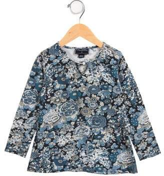 Oscar de la Renta Girls' Long Sleeve Floral Print Top