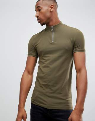 Asos DESIGN muscle fit t-shirt with zip turtleneck in khaki