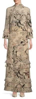 Valentino Bell-Sleeve Silk Evening Dress