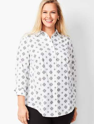 Talbots Plus Size Exclusive Perfect Shirt - Three-Quarter Sleeves - Medallion