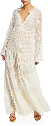 Stella McCartney Long-Sleeve Boho Lace Maxi Dress