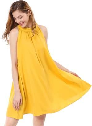 Allegra K Women's Ruffled Neck Belted Above Knee Sleeveless Dress XS