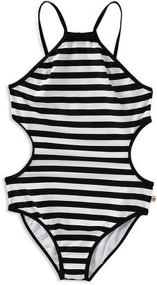 Kate Spade Girls' Striped Side Cutout Swimsuit - Big Kid