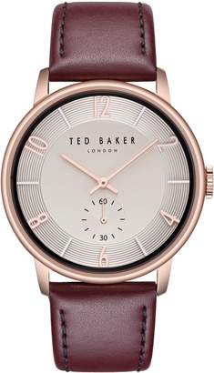 Ted Baker Daniel Leather Strap Watch, 42mm