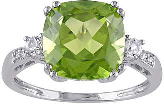 FINE JEWELRY Genuine Peridot, Lab-Created White Sapphire and Diamond-Accent Ring