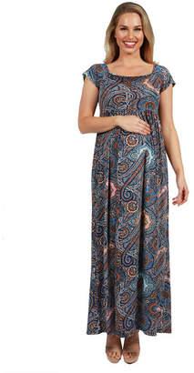 24/7 Comfort Apparel 24Seven Comfort Apparel Emilia Paisley Empire Waist Maternity Maxi Dress