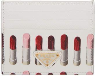 Prada White Saffiano Lipstick Print Card Holder